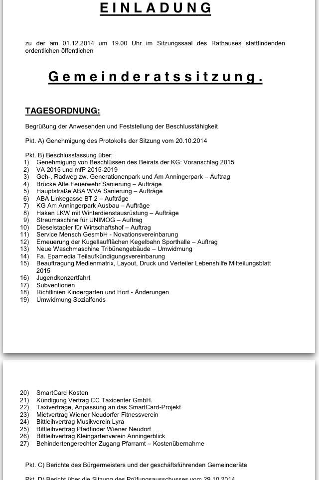 Gemeinderat « UFO – Umweltforum Wiener Neudorf